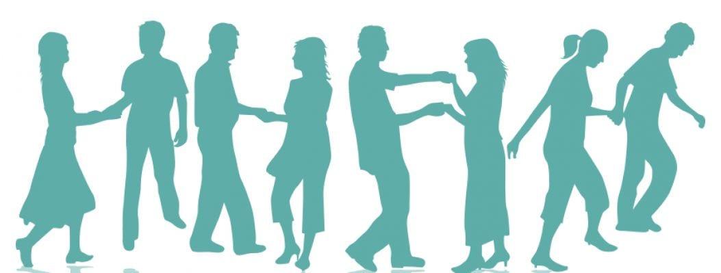 Mehrere Silhouetten von tanzenden Menschen